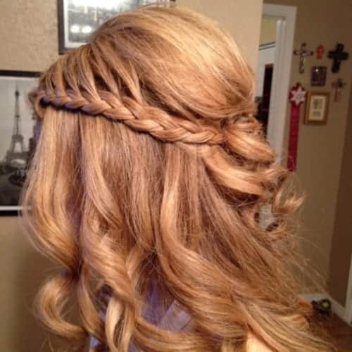 Waterfall Braid with Curls Hairstyles