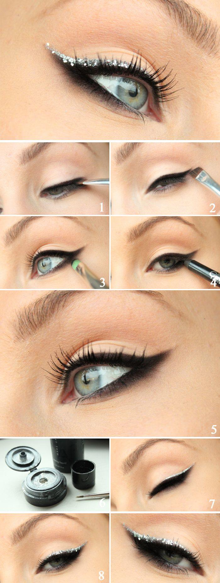 21 dramatic eye make up tips ideas and tutorials for beginners silver glitter eye tutorial vecko revyn baditri Images