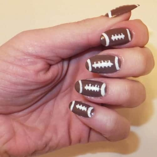 Here's a curated list of 15 football nail art design tutorials you will  fall in love - 15 Fun Football Nail Art Designs