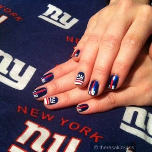 Here S A Curated List Of 15 Football Nail Art Design Tutorials You Will Fall In Love Ny Giants