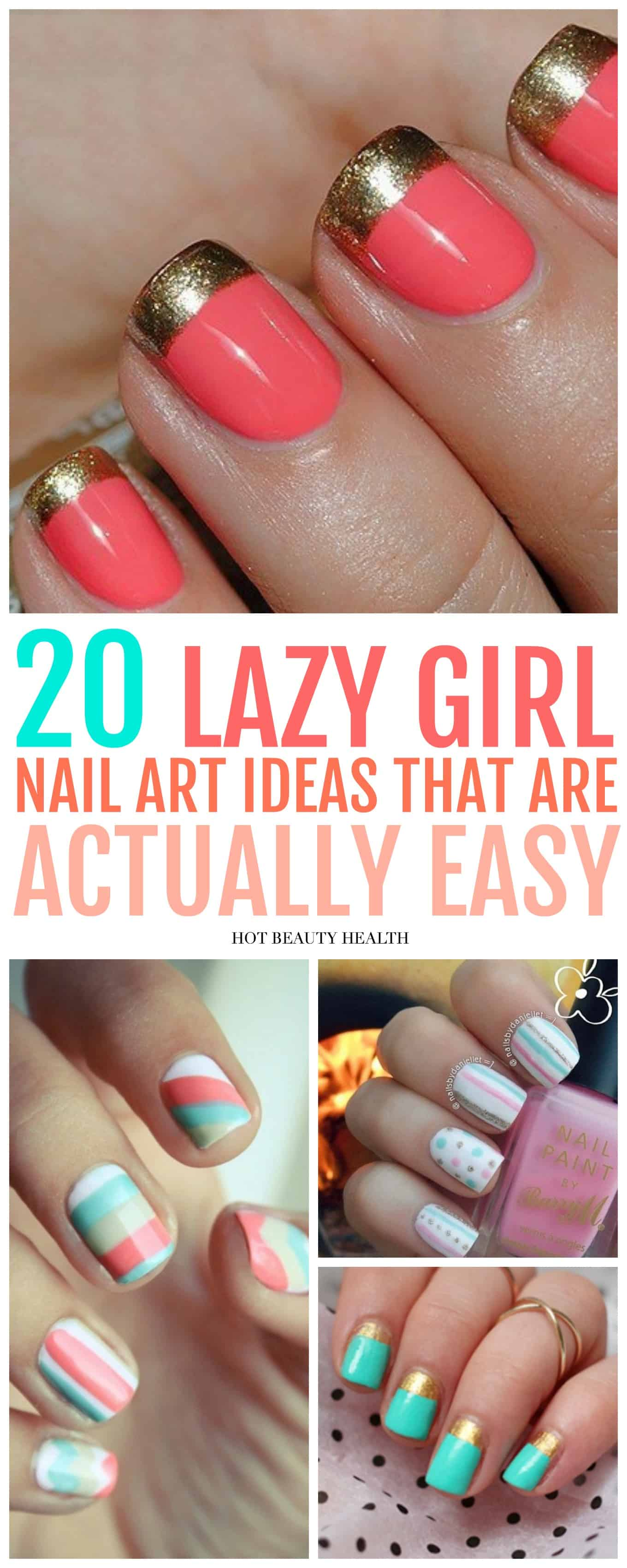 Here's a curated list of 20 simple nail art designs for beginners. These cute diy nail ideas are so easy that any nail newbie can do them! Click pin for step by step tutorials! Hot Beauty Health #naildesign #nailtutorials #nailart