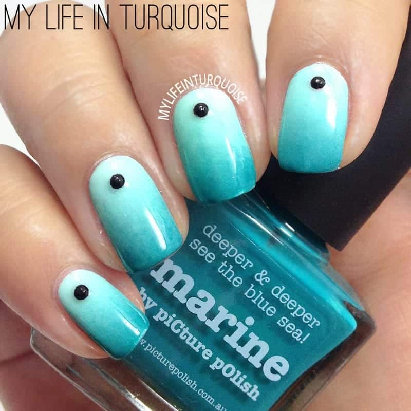 ombre nail art turquoise