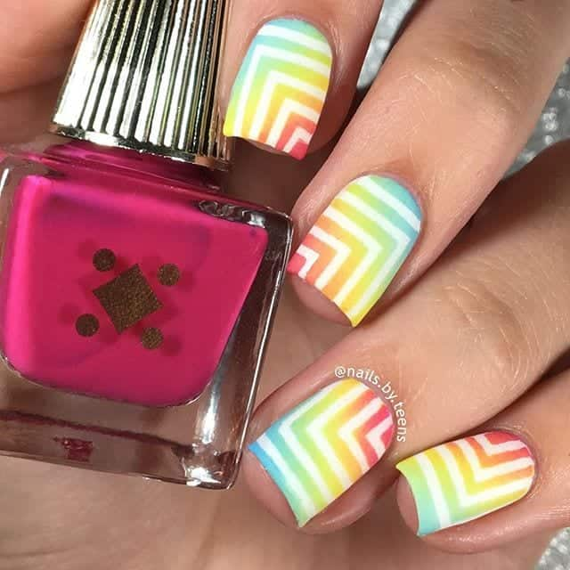 rainbow gradient right angle nails
