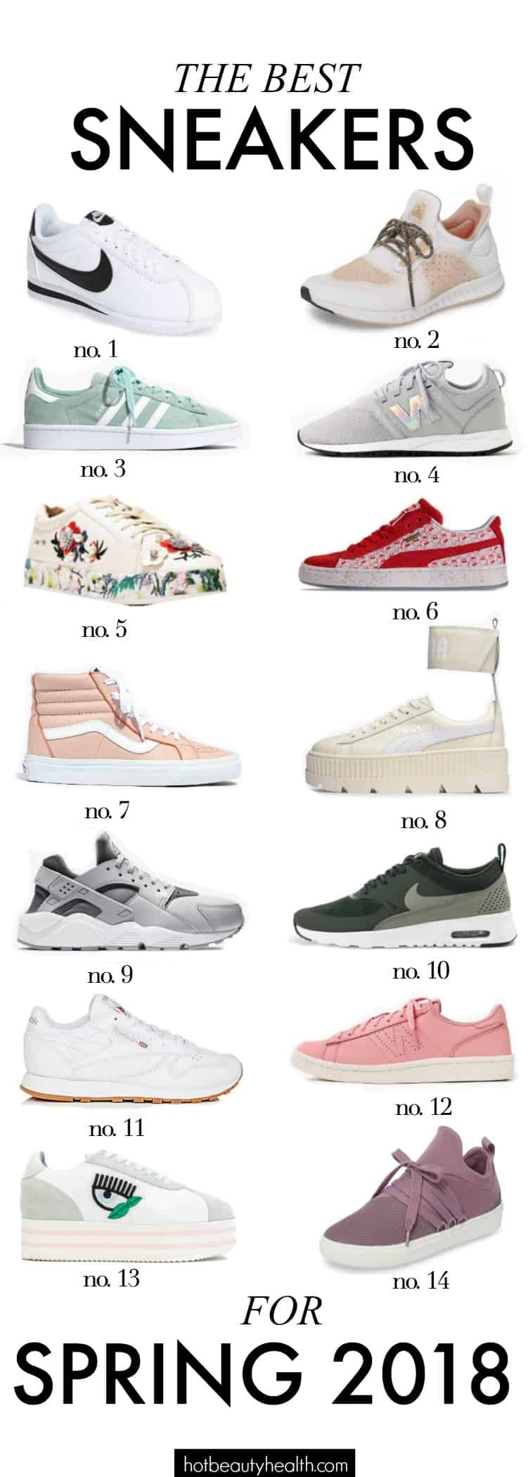 Time to step your shoe game up with a fresh pair of sneakers! From minimal chic to statement-making shoes, you'll find numerous fashion styles to help you create a simple yet trendy spring outfit. Check out my list of the best women sneakers for spring 2018 from Nike, Adidas, Puma, New Balance, and more!