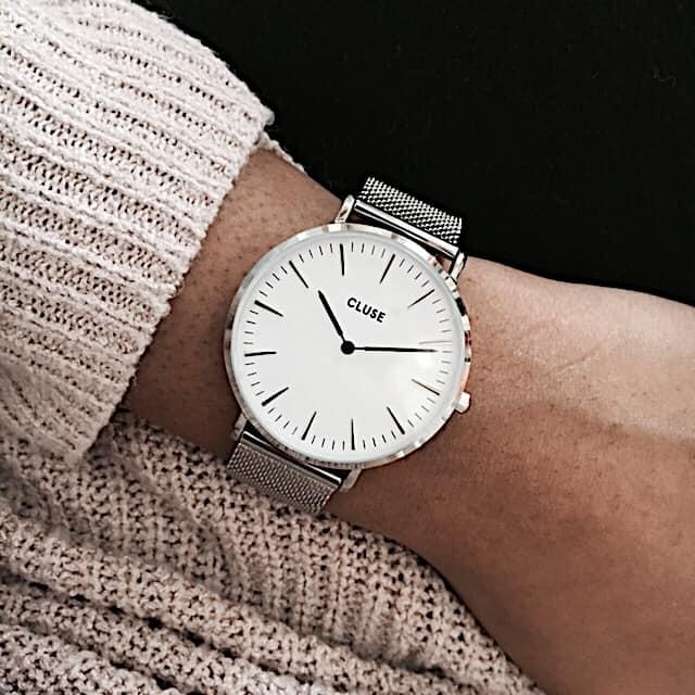 cluse la boheme silver mesh watch