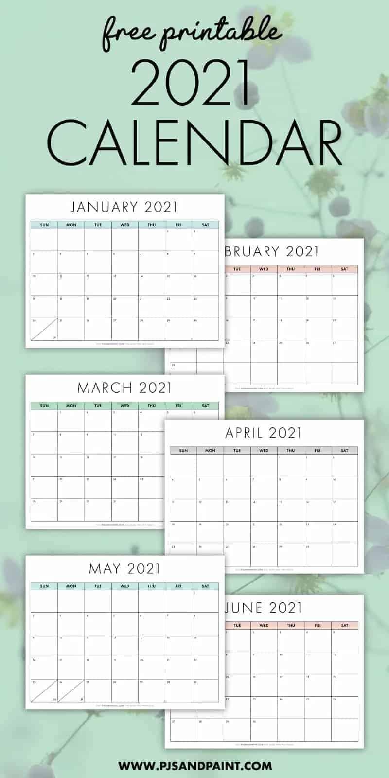 2021 printable calendar pjs and paint