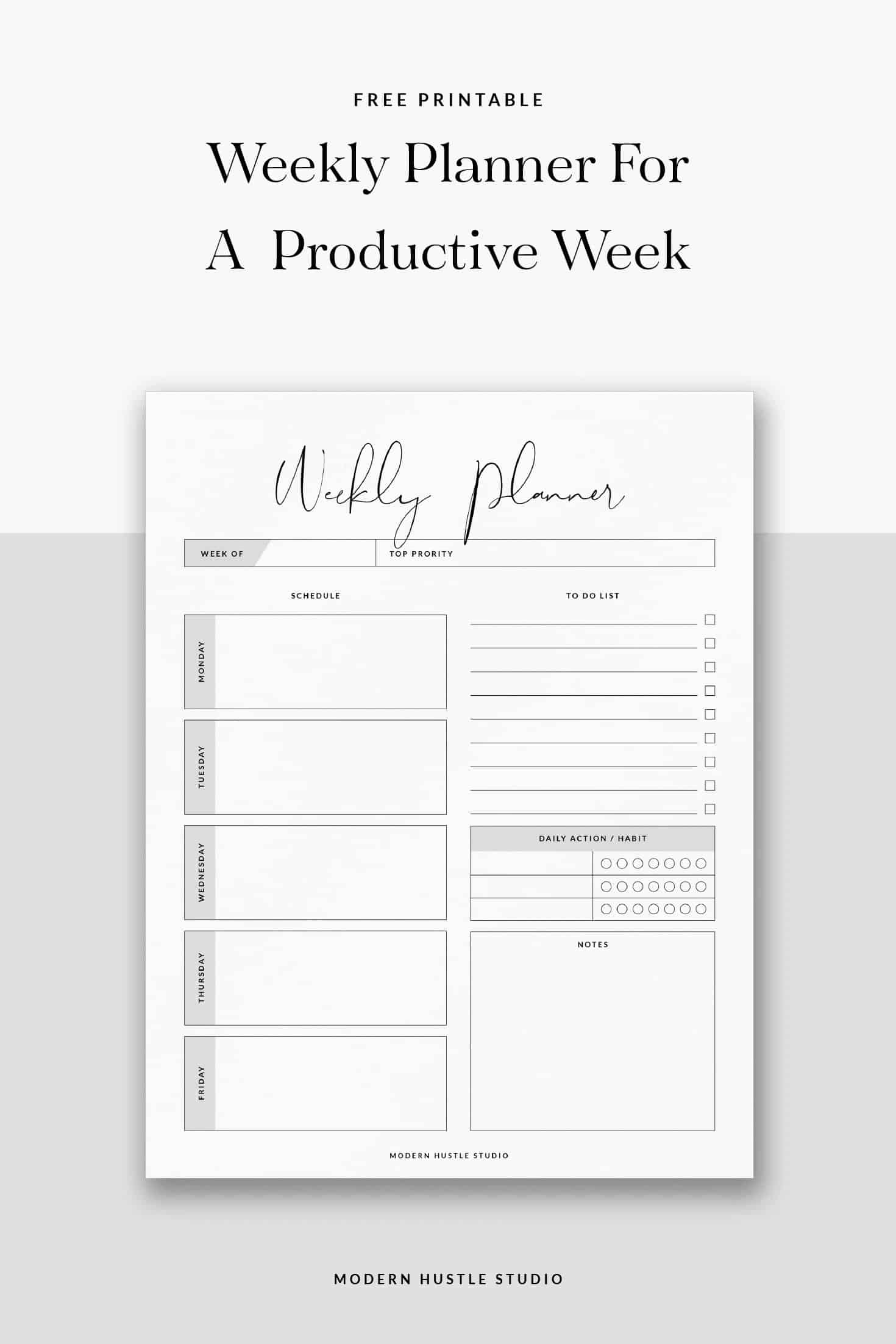 free weekly printable digital planner modern hustle studio